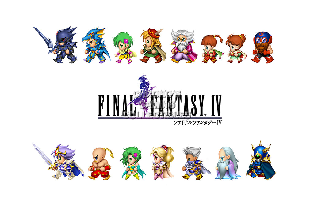 CGC Huge Poster - Final Fantasy IV Characters PS1 PS2 PSP Nintendo DS GBA - FIV002