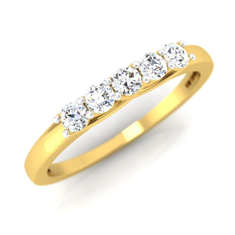 diamond studded gold jewellery - Aurelia Band Ring - Pristine Fire - 1