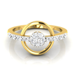diamond studded gold jewellery - Flora Cluster Ring - Pristine Fire - 2