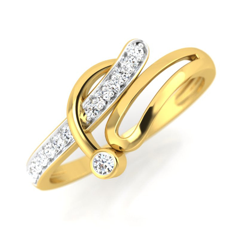 diamond studded gold jewellery - Rane Promise Ring - Pristine Fire - 1