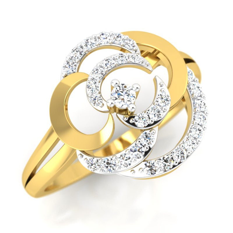 diamond studded gold jewellery - Arriana Cocktail Ring - Pristine Fire - 1