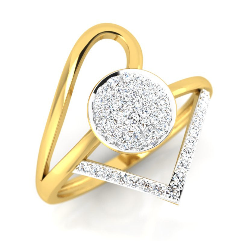 diamond studded gold jewellery - Taffy Fashion Ring - Pristine Fire - 1