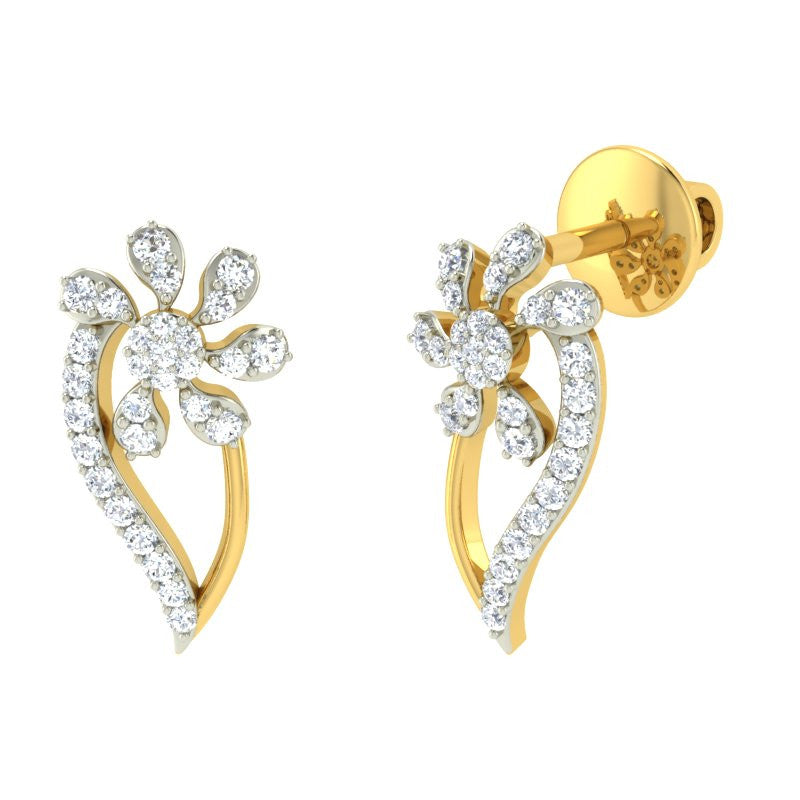 diamond studded gold jewellery - Livie Earring Tops - Pristine Fire - 1