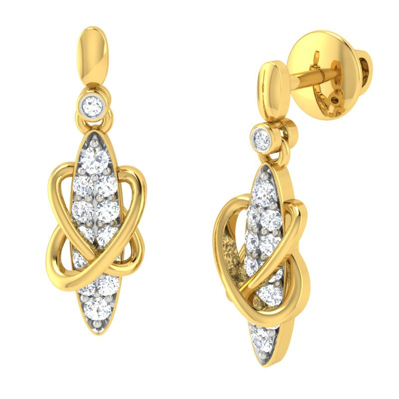 diamond studded gold jewellery - Angie	 Dangler Earring - Pristine Fire - 1