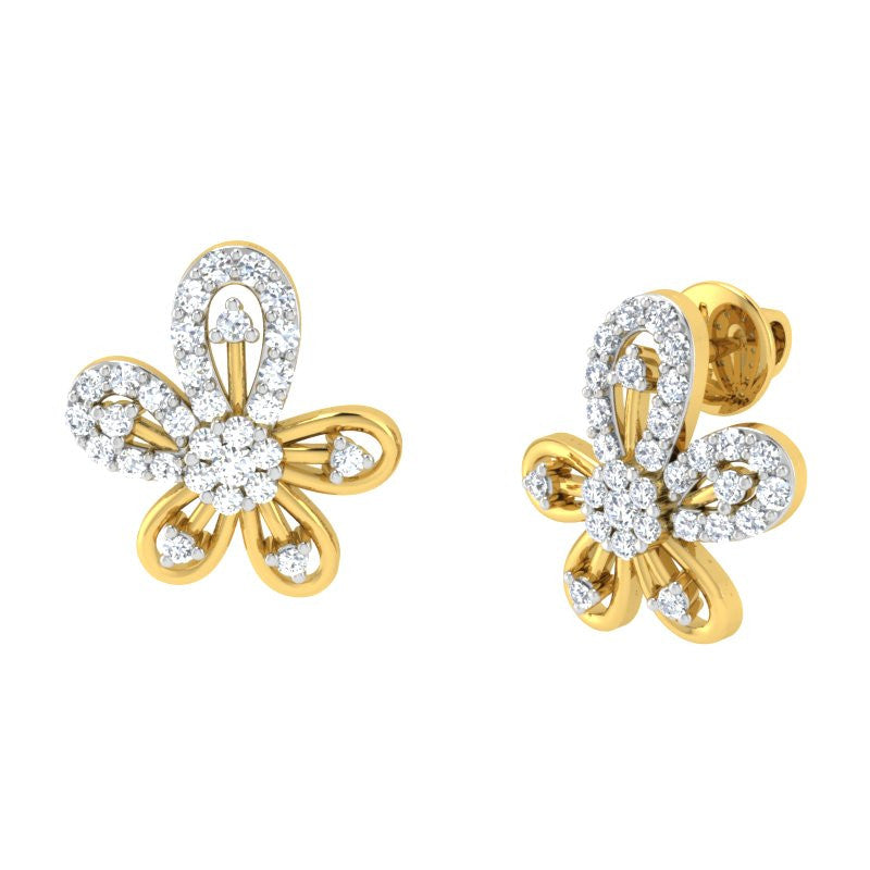 diamond studded gold jewellery - Becca Earring Tops - Pristine Fire - 1