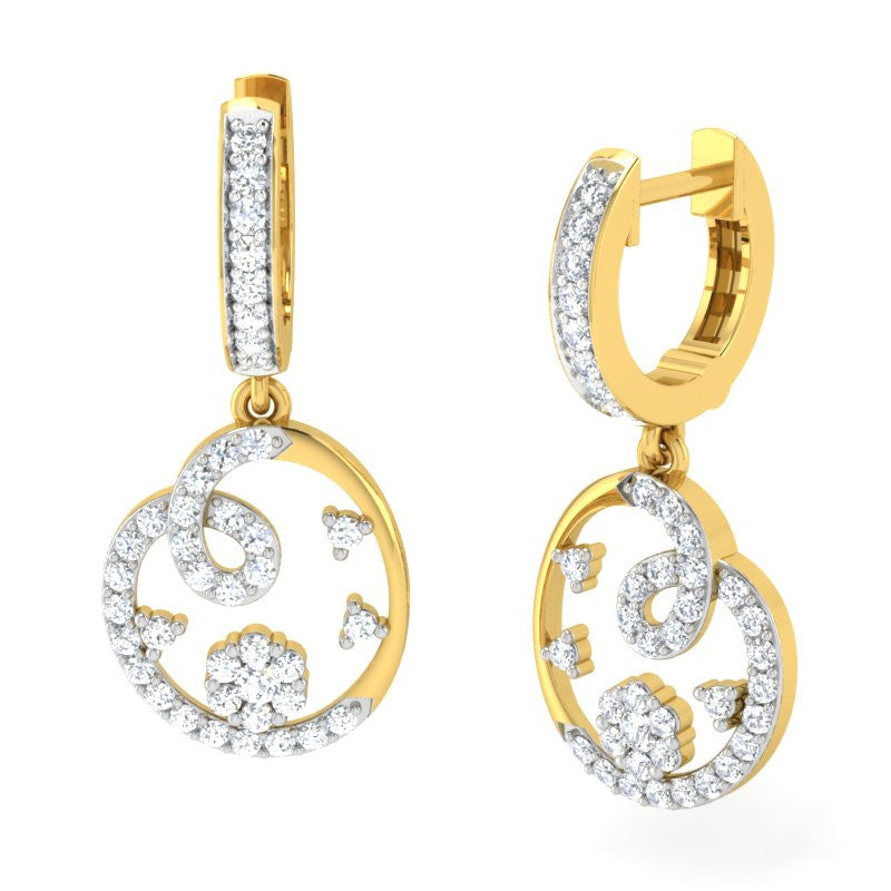 diamond studded gold jewellery - Roshni Bali Earring - Pristine Fire - 1