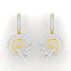 diamond studded gold jewellery - Amarilla Bali Earring - Pristine Fire - 2