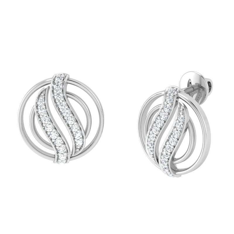 diamond studded gold jewellery - Lucie Earring Tops - Pristine Fire - 1