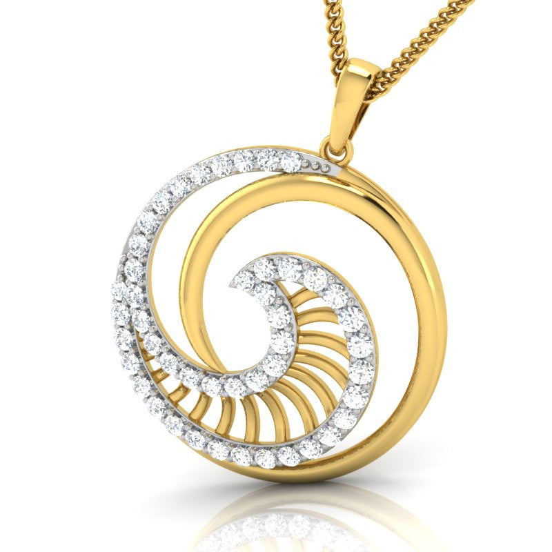 diamond studded gold jewellery - Damzel Fashion Pendant - Pristine Fire - 1