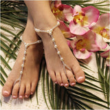 flower girl footless sandles | girls pearl foot jewelry