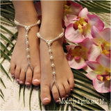 beaded flower girl feet jewelry | beaded flower girl barefoot sandals