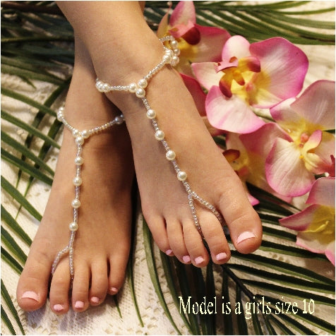 pearl flower girl barefoot sandals | pearl flower girl footless sandals