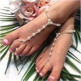 flower girl pearl barefoot sandals - flower girl  footless sandles