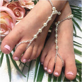 toddler pearl barefoot sandals - girls foot jewelry
