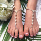 pearl foot jewelry girls - flower girl barefoot sandals beach