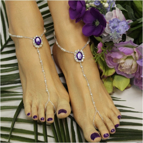 purple barefoot sandals pearls