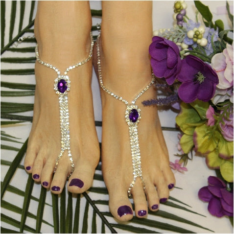 purple foot jewelry bridal