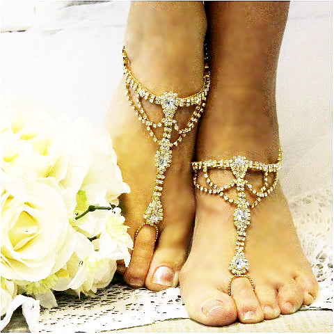gold  barefoot sandals - gold footless sandals - bridal  gold - gold feet jewelry - wedding
