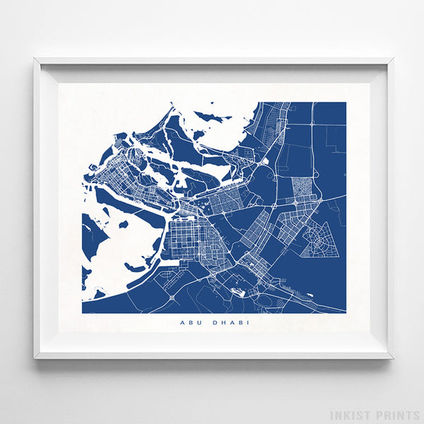 Abu Dhabi, United Arab Emirates Street Map Horizontal Print
