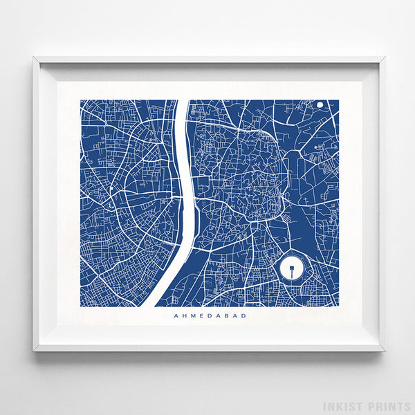 Ahmedabad, India Street Map Horizontal Print