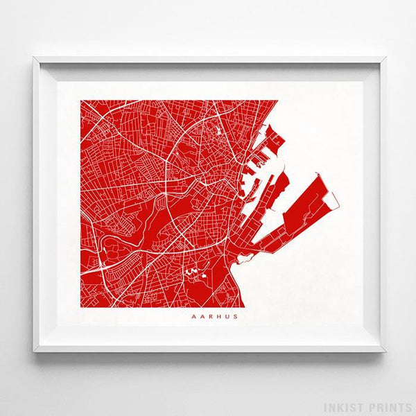 Aarhus, Denmark Street Map Horizontal Print-Poster-Wall_Art-Home_Decor-Inkist_Prints