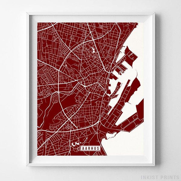 Aarhus, Denmark Street Map Vertical Print-Poster-Wall_Art-Home_Decor-Inkist_Prints