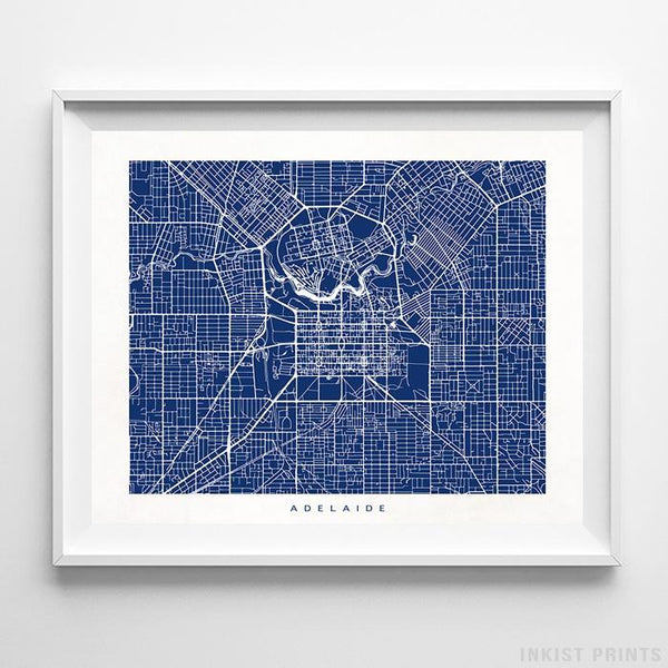 Adelaide, Australia Street Map Horizontal Print-Poster-Wall_Art-Home_Decor-Inkist_Prints