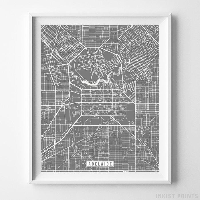 Adelaide, Australia Street Map Vertical Print-Poster-Wall_Art-Home_Decor-Inkist_Prints