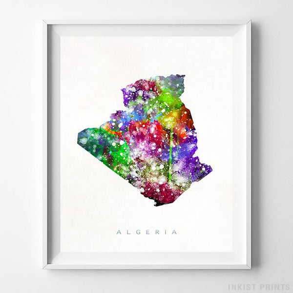 Algeria Watercolor Map Print-Poster-Wall_Art-Home_Decor-Inkist_Prints