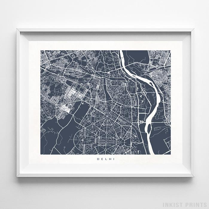 Delhi, India Street Map Horizontal Print-Poster-Wall_Art-Home_Decor-Inkist_Prints
