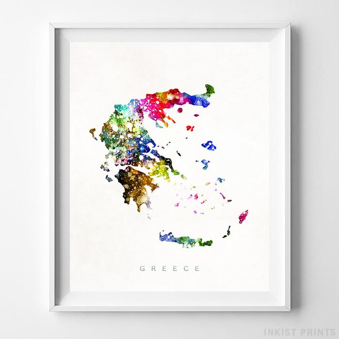 Greece Watercolor Map Print-Poster-Wall_Art-Home_Decor-Inkist_Prints