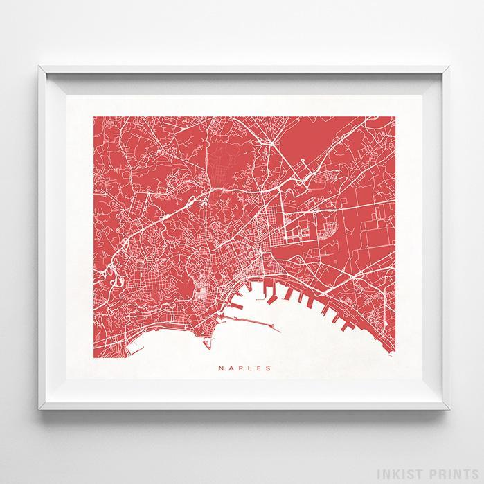 Naples, Italy Street Map Horizontal Print-Poster-Wall_Art-Home_Decor-Inkist_Prints