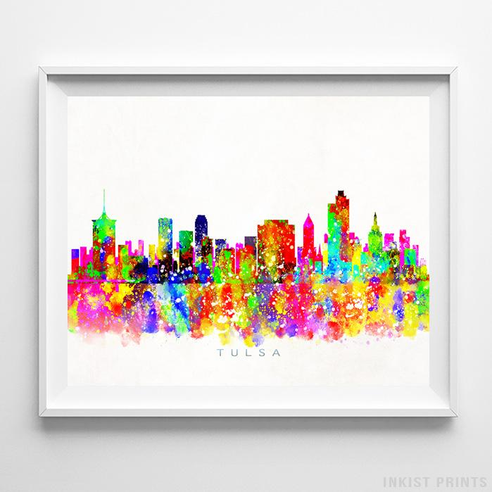 Tulsa, Oklahoma Skyline Watercolor Print-Poster-Wall_Art-Home_Decor-Inkist_Prints