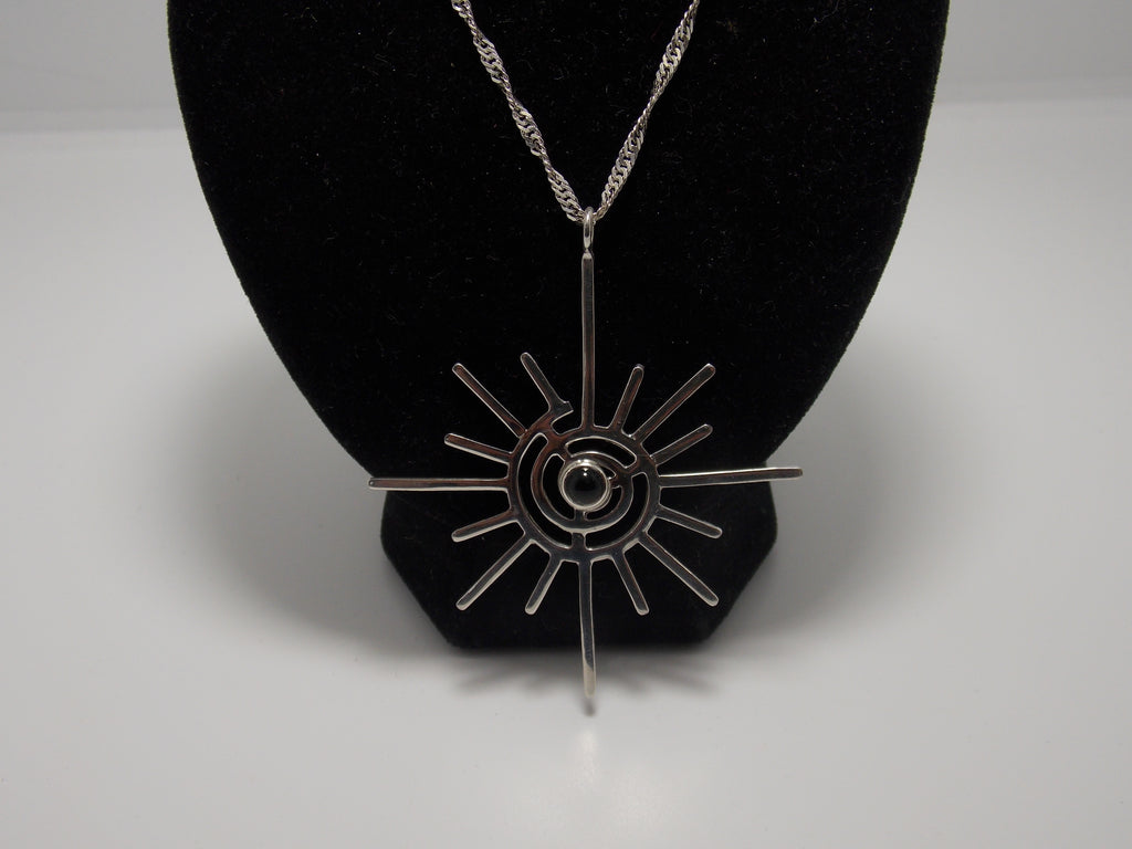 Large Spiral pendant (Black Onyx) by David Ely