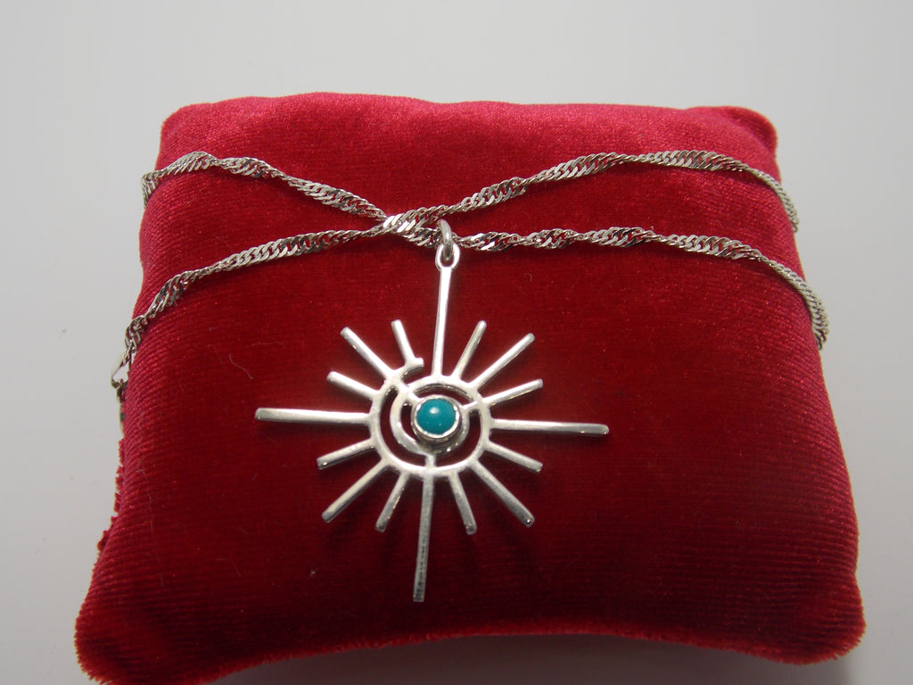 "Sterling Silver ""Spiral Nucleus"" Pendant with Turquoise by Dave Ely"