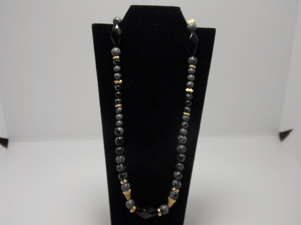 Obsidian and Onyx bead necklace with 14K gold clasp and beads by David Ely