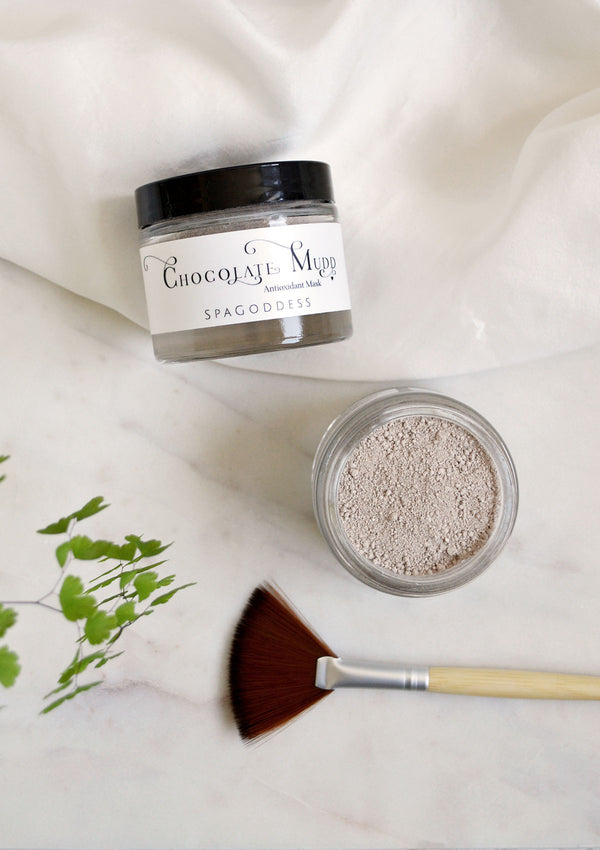 Chocolate Face Mask, Chocolate Mud Antioxidant Face Mask, Mud Mask with bamboo mask brush