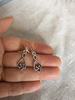 Heart Knot and Infinity earrings, Infinite Love symbol and Heart earrings
