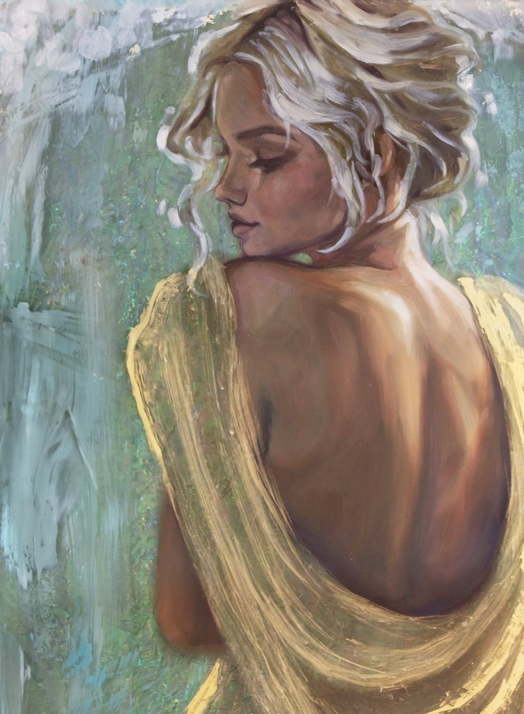 """Golden Gaze"" <br/> Original Painting<br/> in Private Collection at Vancouver, Canada"
