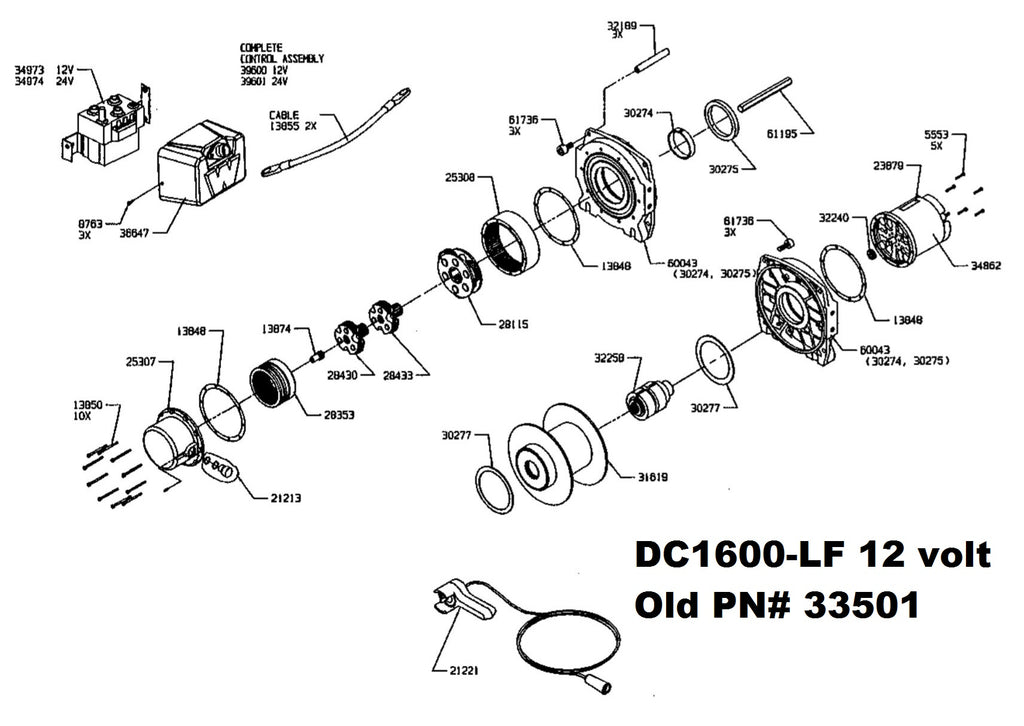 WARN DC1600LF parts, old