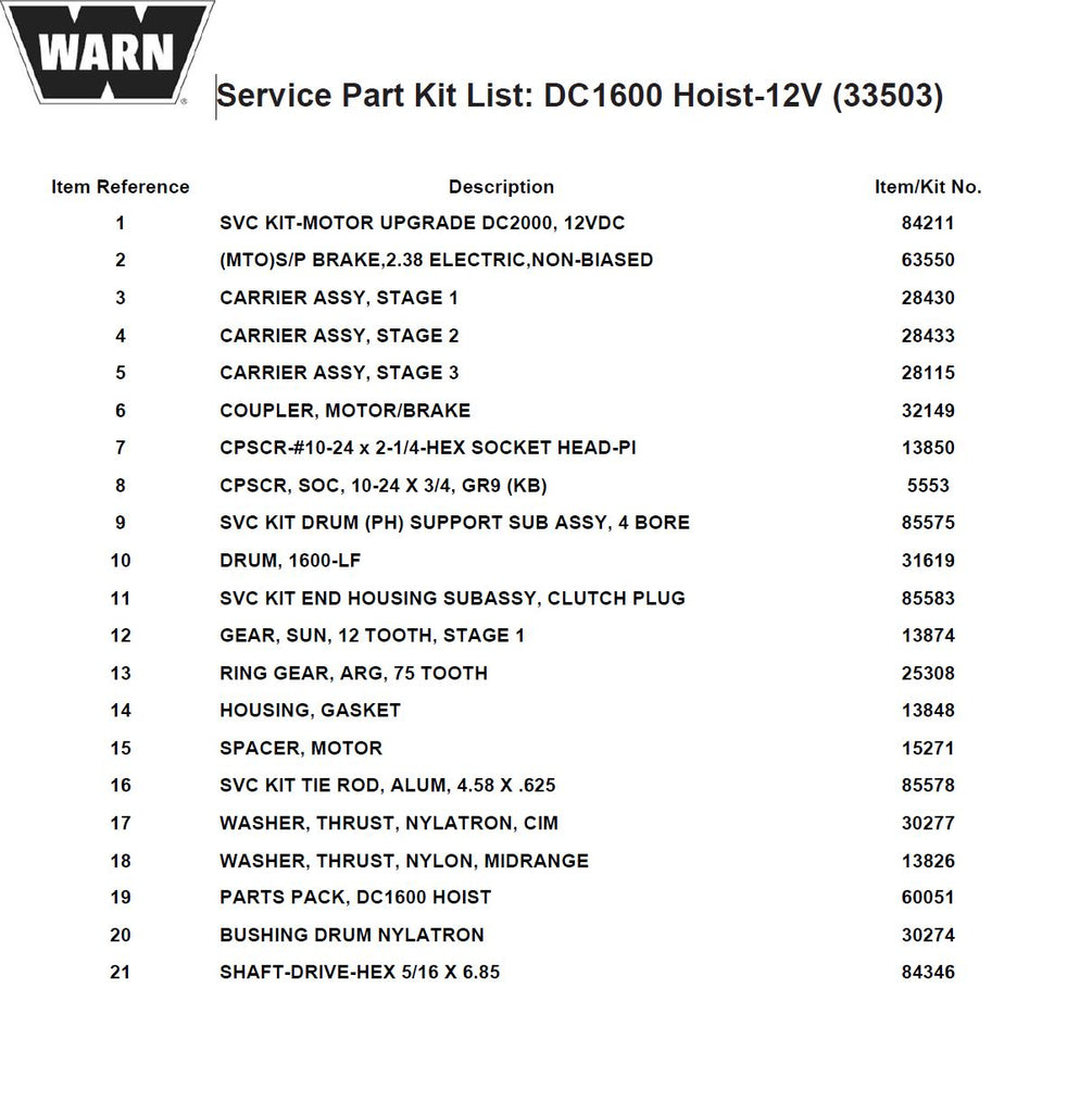 WARN DC1600 Parts list