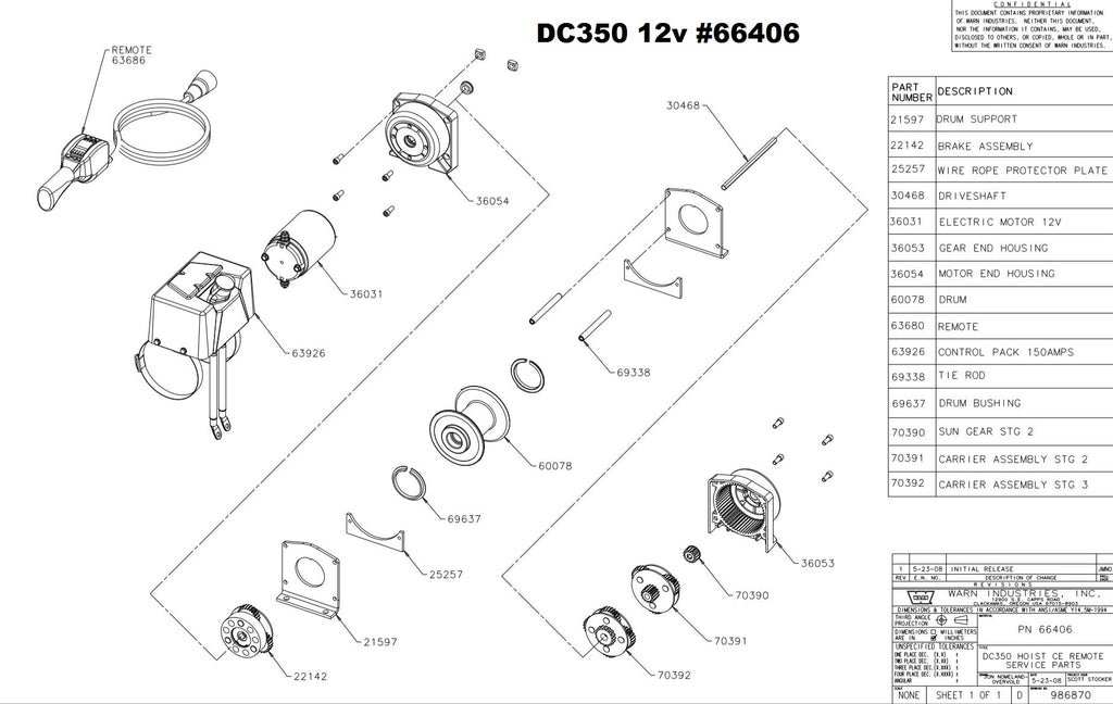 WARN DC350 12 volt Hoist Parts