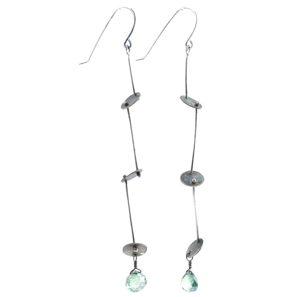 Sterling Silver & Green Quartz Cascade Disk Earrings