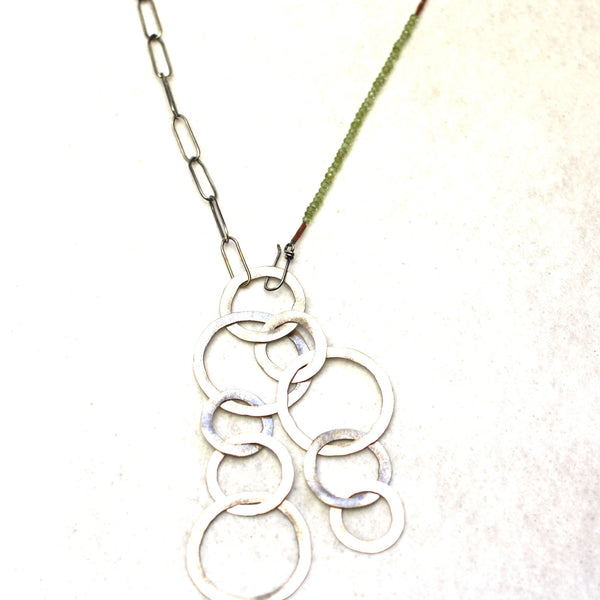 Sterling Silver & Peridot Hammered Hoop Necklace