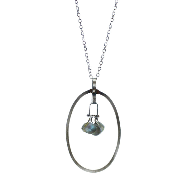 Sterling Silver & Labradorite Hammered Oval & Arch Link Pendant Necklace
