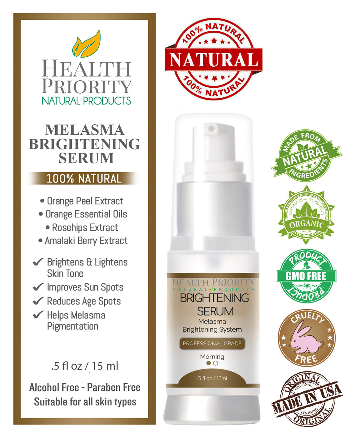 100% Natural & Organic Melasma Brightening Serum