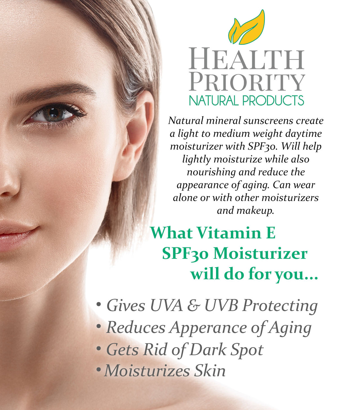 Natural Vitamin E Moisturizer Cream + SPF30