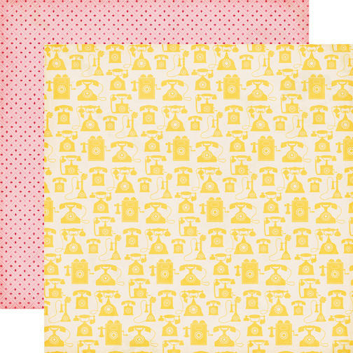 Echo Park Jack & Jill Girl Paper - Yellow Telephones