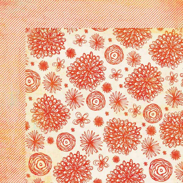 My Mind's Eye Paper Collection - Tangerine - Sunshine Blossom paper