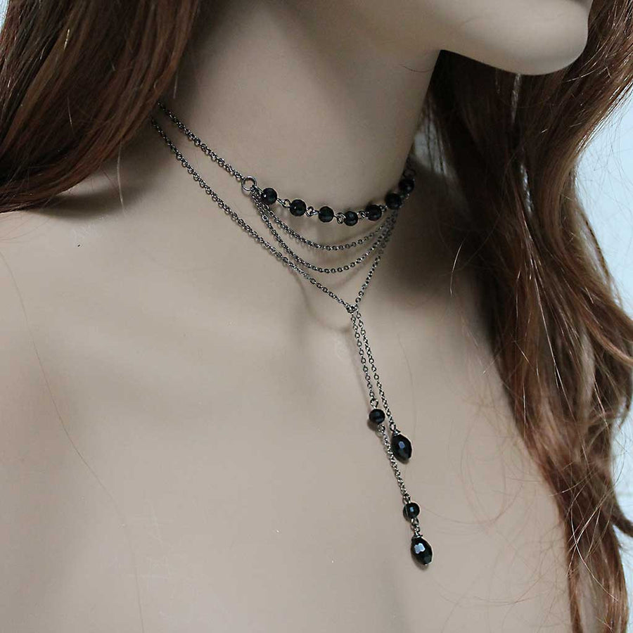 Black Beaded Dainty Chain Lariat Necklace